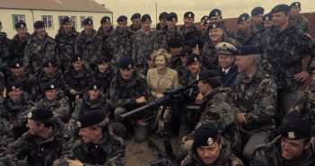 Margaret Thatcher in Falklands during the War